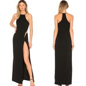 NWT NBD Black High Neck Gown w/ Thigh Slit